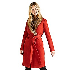 Yumi - Orange faux fur wrap coat