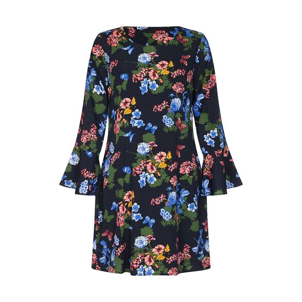 tunic Black dress and butterfly 'Vallee' flower Yumi aSPwqx