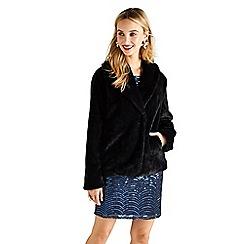 Yumi - Black short faux fur coat