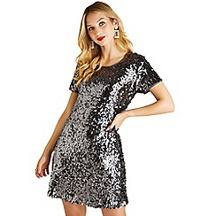 Yumi - Grey sequin 'Valkyrie' short sleeve tunic dress