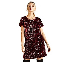 Yumi - Plum sequin velvet 'Armita' bodycon dress
