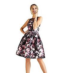 Yumi - Pink digital rose 'Asalee' sleeveless prom dress