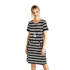 Yumi - Black striped 'Vanasia' short sleeve tunic dress