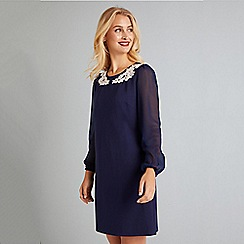 Yumi - Navy Applique Flower Detail Tunic Dress