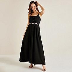 Yumi - Black floral embellished 'Eldene' maxi dress