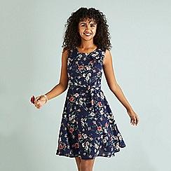 Yumi - Navy Oriental Blossom Print Skater Dress