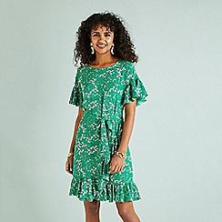 Yumi - Green floral print ruffle dress