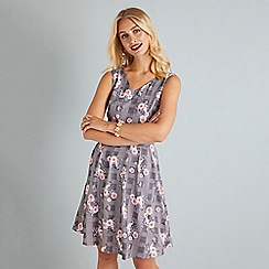 Yumi - Black check and floral print skater dress
