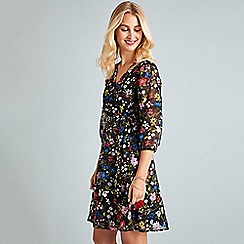 Yumi - Black ditsy wrap dress