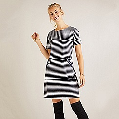 Yumi - Grey nautical striped 'Elizia' tunic dress