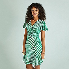 Yumi - Green diagonal stripe print wrap dress