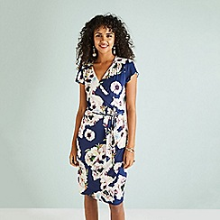 Yumi - Navy floral midi wrap dress