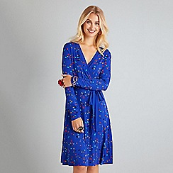 Yumi - Blue abstract printed jersey wrap dress