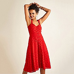Yumi - Red Broderie Anglaise Button Sun Dress