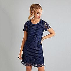 Yumi - Navy Rose Print Tunic Dress