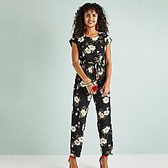 7f8e7d9bf9 Yumi - Black floral print jumpsuit with tie waist belt