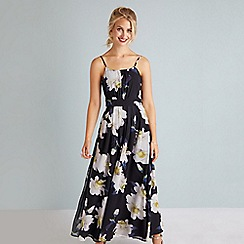 Yumi - Black flower print maxi dress