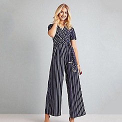 Yumi - Navy stripe wrap jumpsuit with tie detail