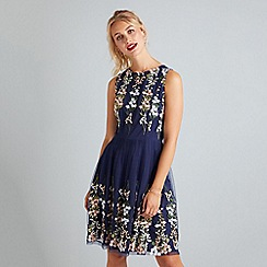 Yumi - Navy Mirror Embroidery Dress