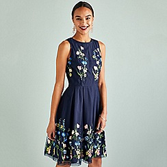 Yumi - Navy Meadow Embroidery Mirror Dress