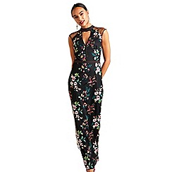 Yumi - Black oriental embroidered maxi dress