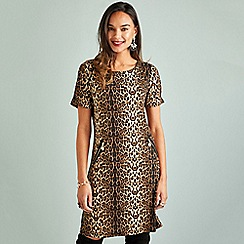 Yumi - Multicoloured leopard print 'Cresta' wrap dress
