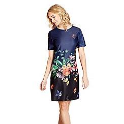 Yumi - Blue floral print 'Astrid' mini tunic dress