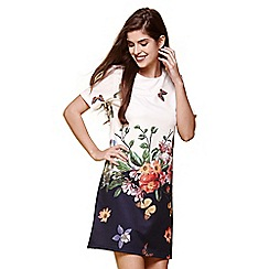 Yumi - Cream floral garden print shift dress