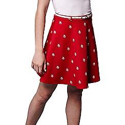 Yumi - Red mini boat print skirt