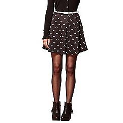 Yumi - Black bird print belted skirt