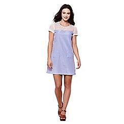 Yumi - Blue print & broderie anglaise dress