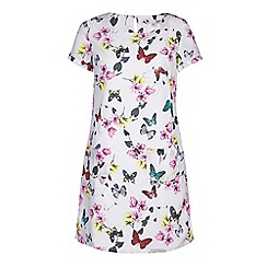 Yumi - Ivory butterfly & floral print tunic