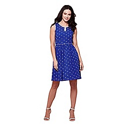 Yumi - Blue sleeves spot print tea dress