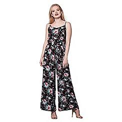Yumi - Black floral print strap jumpsuit