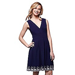 Yumi - Navy embroidered skater dress