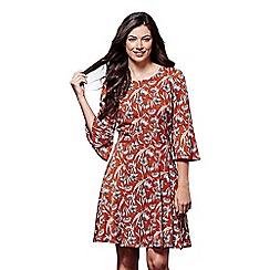 Yumi - Orange floral print 'Ella-mae' flute sleeves skater dress