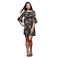 Yumi - Black floral print 'Macia' mini tunic dress