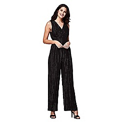 Yumi - Black sleevless lurex pinestripe jumpsuit
