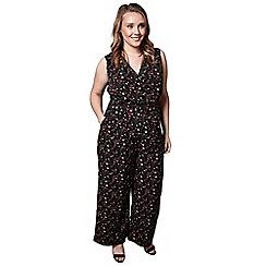 Yumi Curves - Black ditsy floral print jumpsuit