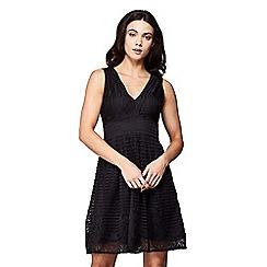 Yumi - Stripe border lace tea dress