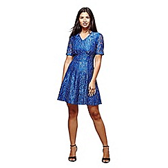 Yumi - Blue metallic foiled lace tea dress
