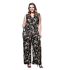 0ca4b6bad4 Yumi Curves - Black oriental floral and peacock jumpsuit