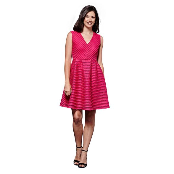 'Mysha' Yumi Pink stripe skater dress V neck pattern qf1TfxFwt