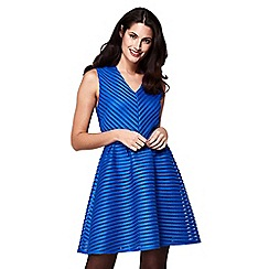 Yumi - Blue stripe pattern 'Karina' mini skater dress