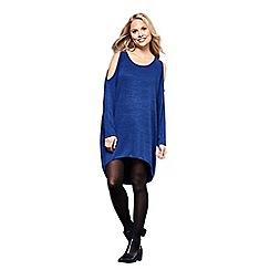 Yumi - Blue knit 'Aya'oversized cold shoulder tunic