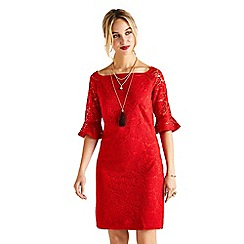 Yumi - Red strapless lace 'Harlow' mini shift dress