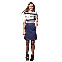 Yumi - Blue a-line denim skirt with side pockets