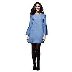 Yumi - Blue denim tunic with flute sleeves