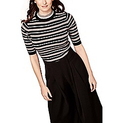 Yumi - Black striped short sleeve jumper