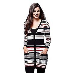 Yumi - Multicoloured colourful rib stripe cardigan